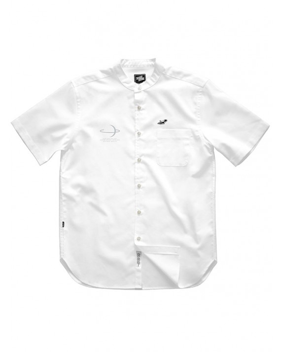 Ageless Galaxy Planet Button POD 006 Down S/S Shirt - White