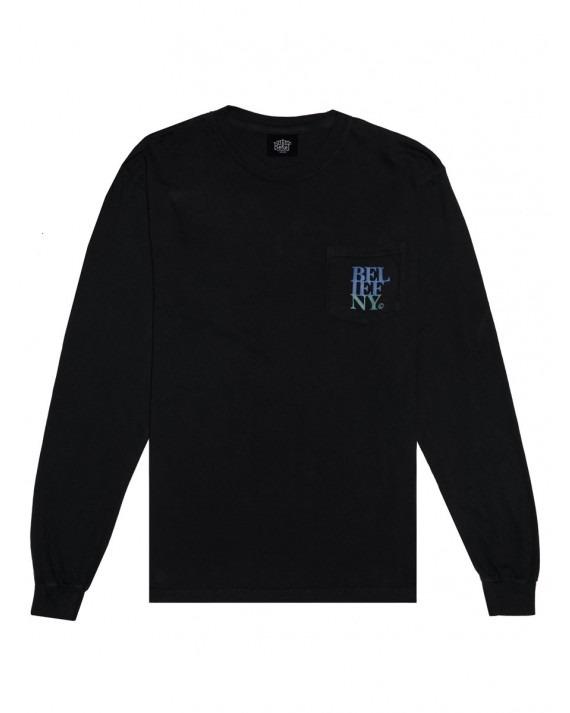 Belief Stacked L/S Pocket T-Shirt - Black