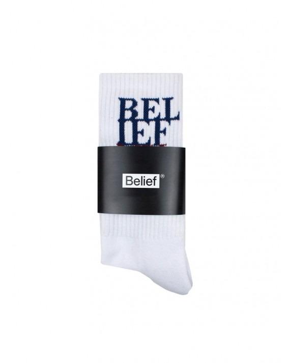 Belief Stacked Socks - White