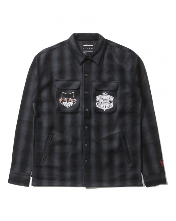 The Hundreds x Mr Cartoon Plaid Woven Shirt - Black