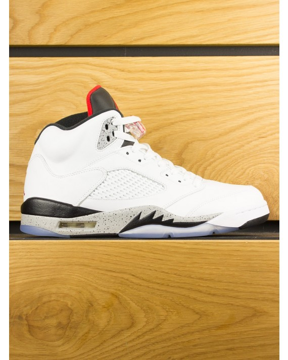 """Nike Air Jordan V Retro """"Cement' - White University Red Black"""