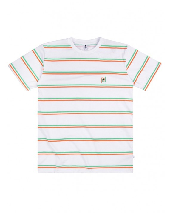 Post Details Striped T-Shirt - White Orange Green