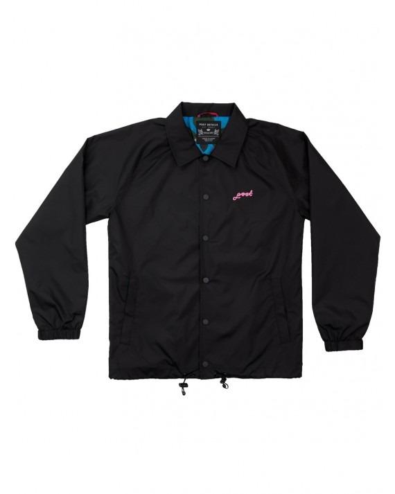 Post Details Nylon Roses Coach Jacket - Black
