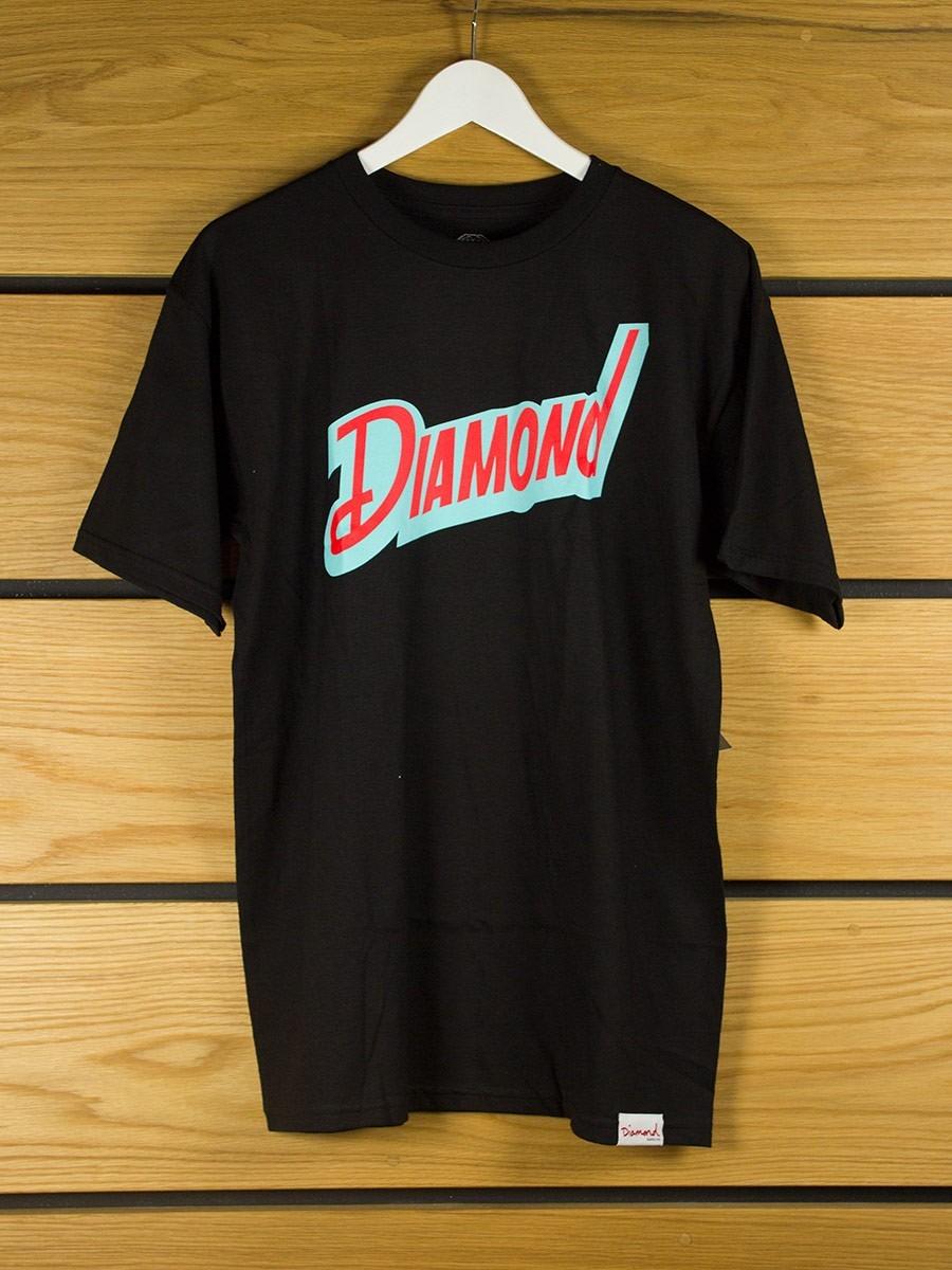 Diamond supply downtown t shirt black for Wholesale diamond supply co shirts