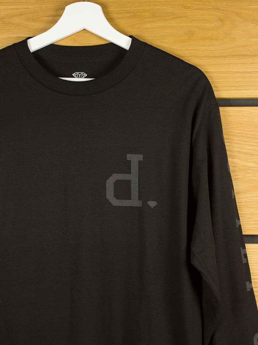 Diamond supply tonal un polo l s t shirt black for Diamond supply co polo shirts