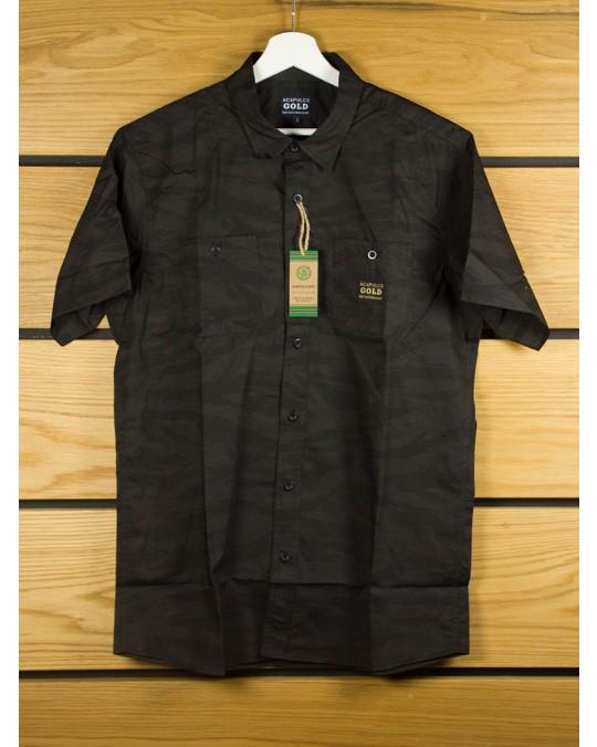 Acapulco Gold Ranger S/S Button Down Shirt - Black Tiger Stripe
