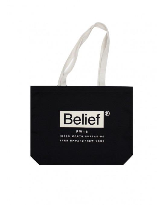 Belief Box Logo Tote - Black Natural