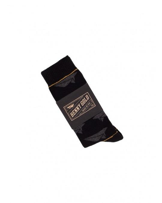 Benny Gold Paper Plane Socks - Black