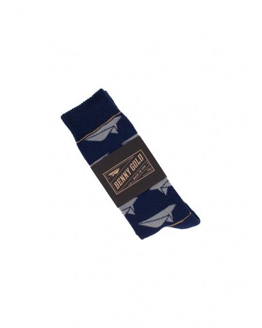 Benny Gold Paper Plane Socks - Navy