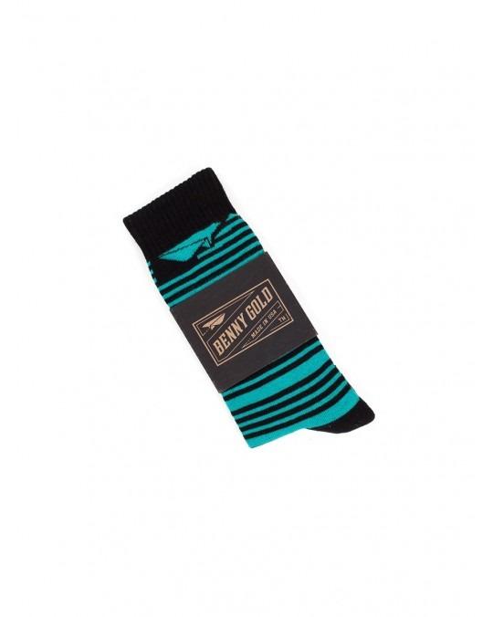 Benny Gold Track Striped Socks - Black