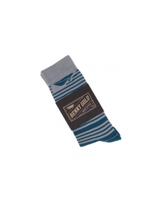 Benny Gold Track Striped Socks - Blue