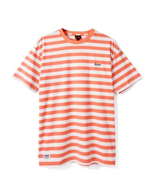 Butter Goods Cycle Stripe T-Shirt - Peach White
