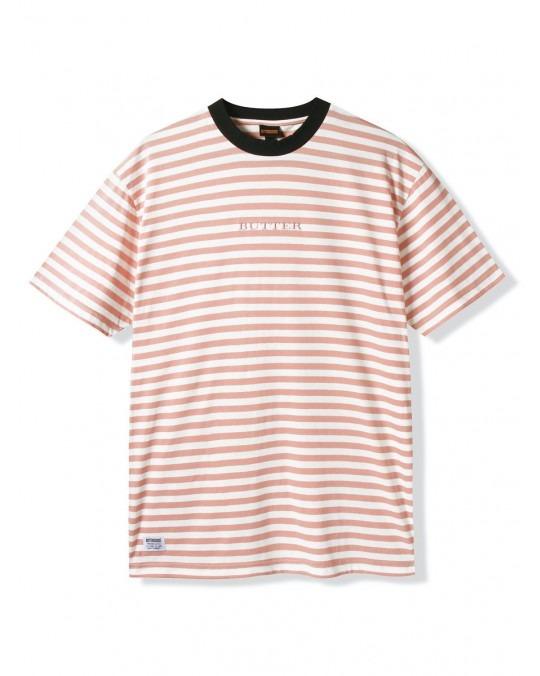 Butter Goods Hampshire Stripe T-Shirt - Coral