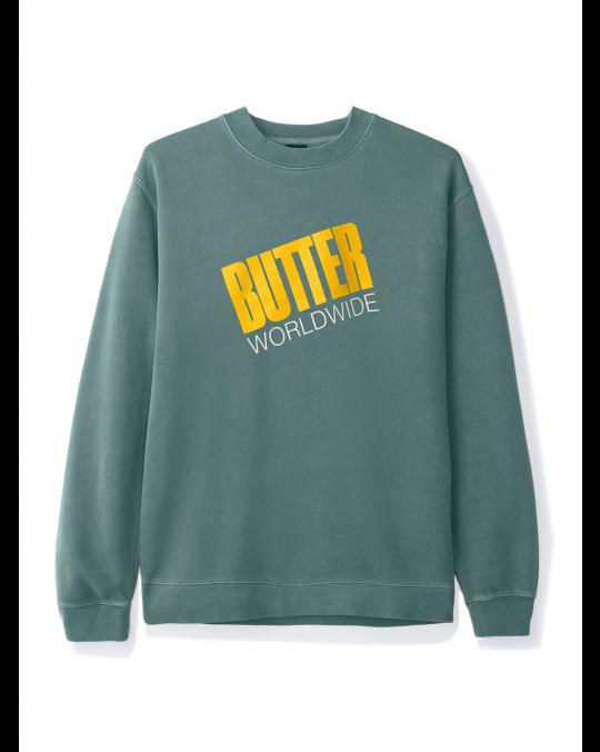 Butter Goods Tilt Logo Crewneck Sweatshirt - Pigment Green