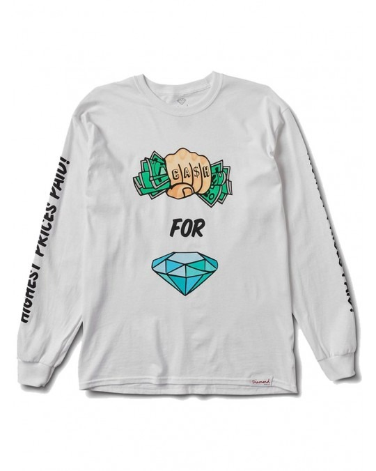 Diamond Supply Co Cash In Hand L/S T-Shirt - White