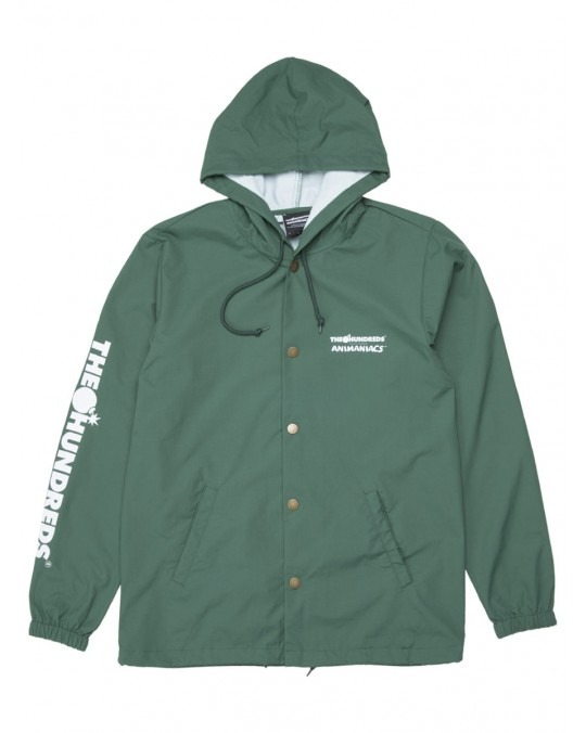 The Hundreds x Animaniacs Ani Adam Bomb Hooded Coaches Jacket - Forest Green