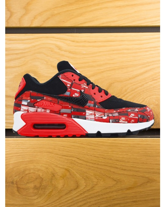 "Nike Air Max 90 PRNT x Atmos Premium QS ""We Love Nike"" - Black Bright Crimson White"