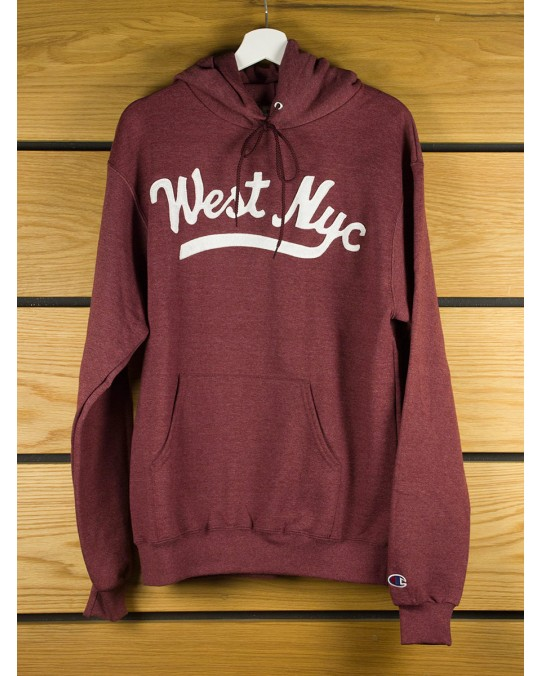 West NYC Script Champion Pullover Hoody - Burgundy